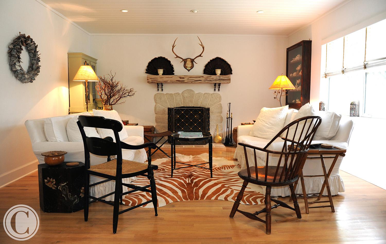 Atlantic Beach Home Renovation, Family Room, Hand-made Coquina Fireplace, ©Mark Sain Wilson Photography