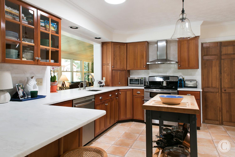 Kitchen Upgrades Passthrough, Gorgeous Honed Marble Counter, Atlantic Beach, Florida Home Renovation, ©Agnes Lopez Photography