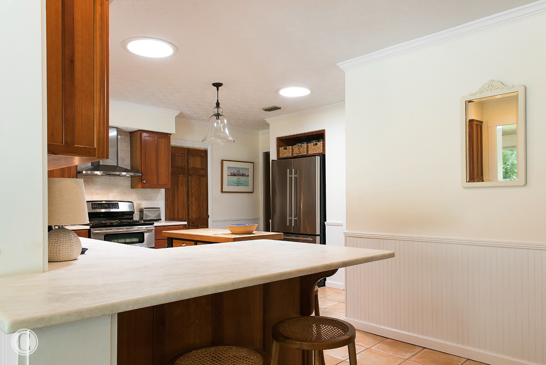 Gorgeous honed Stone Counter Top, Beadboard Wainscoating, Atlantic Beach, Florida Home Renovation, ©Agnes Lopez Photography