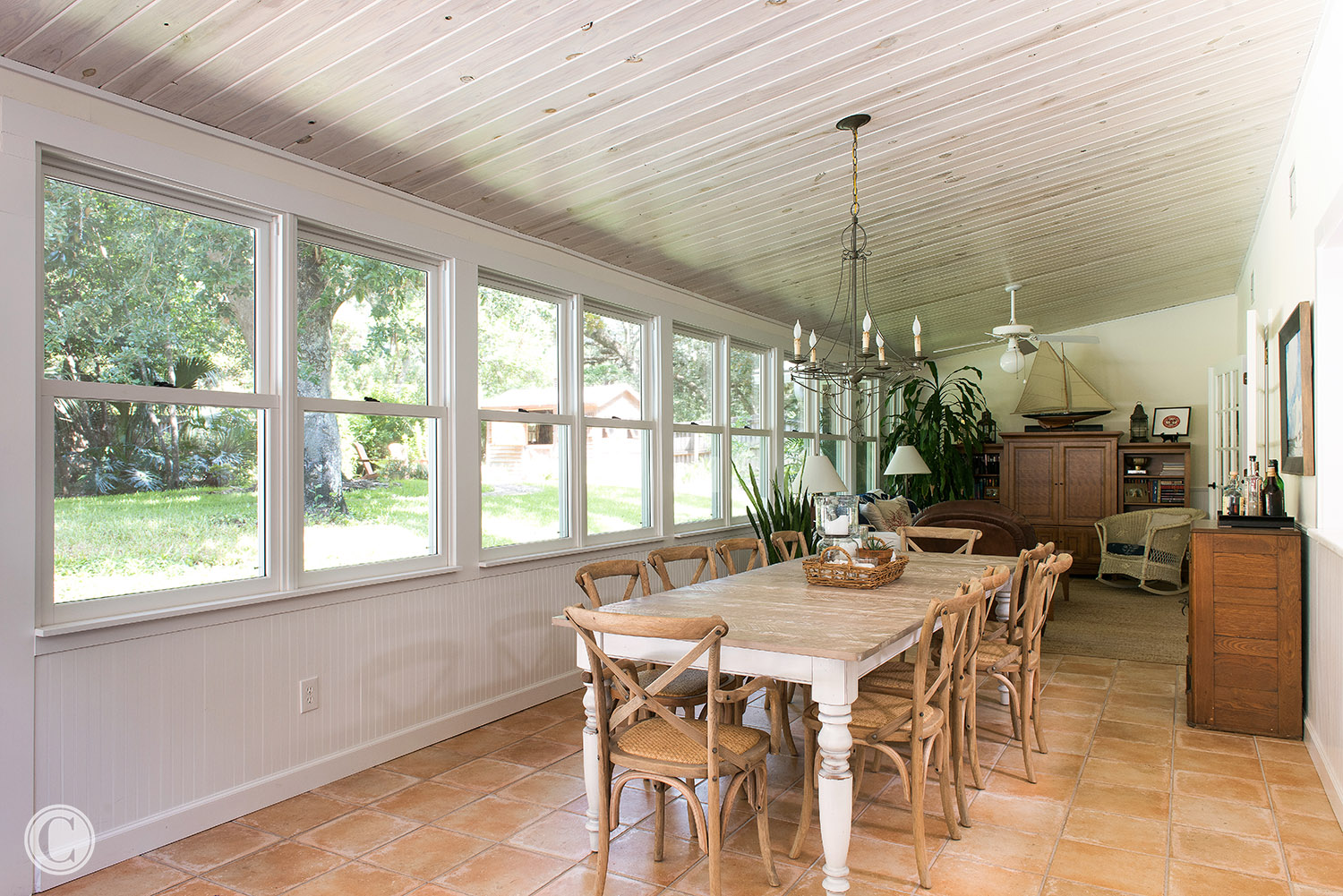 Wood windows, Natural Knotty Pine Tongue and Groove Ceiling, Tile Floor, Atlantic Beach, Florida Home Renovation near Atlantic Beach Country Club, ©Agnes Lopez Photography