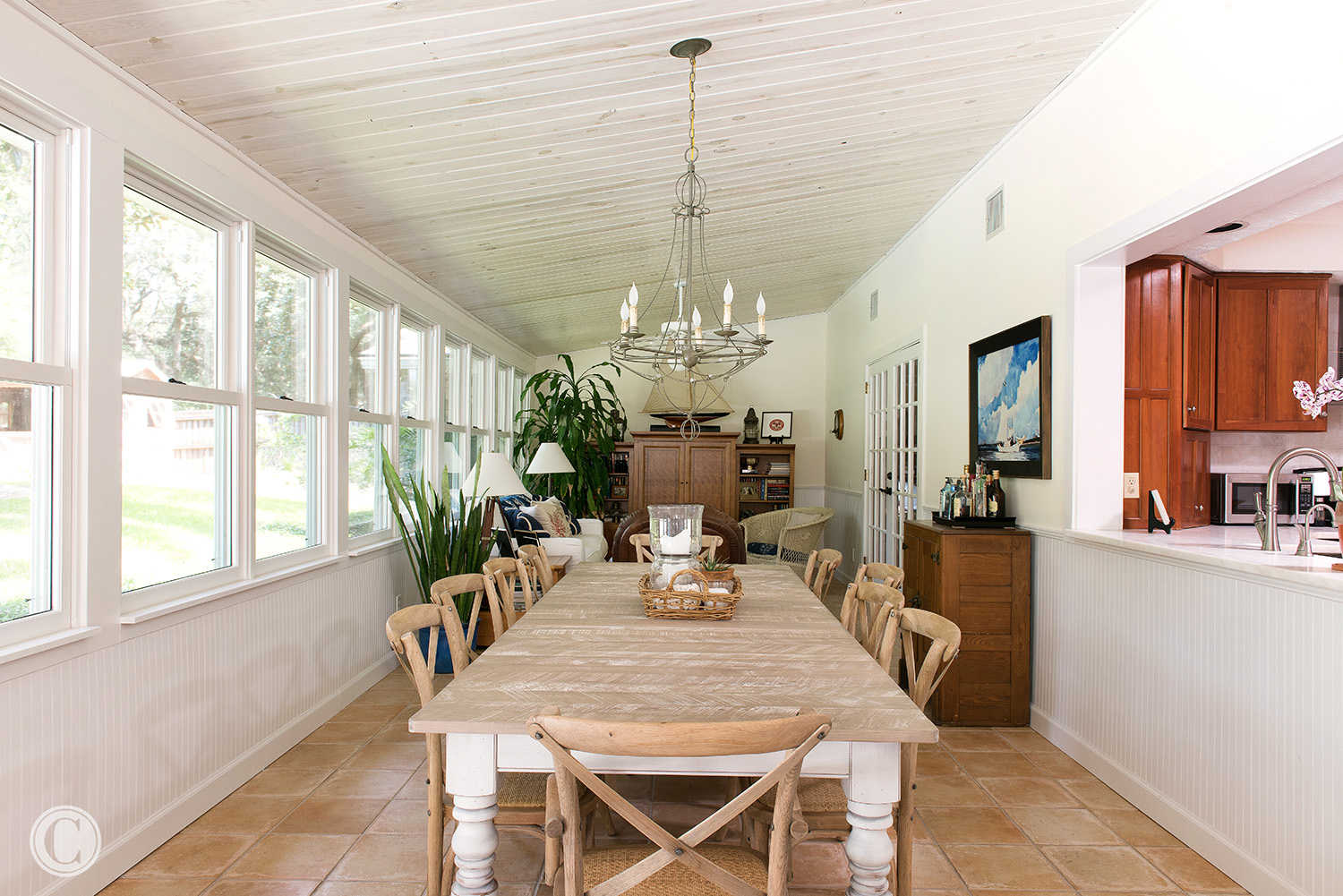 White-washed Wood Tongue and Groove Ceiling, Kitchen pass-through, New wood windows, Atlantic Beach, Florida Home Renovation, ©Agnes Lopez Photography