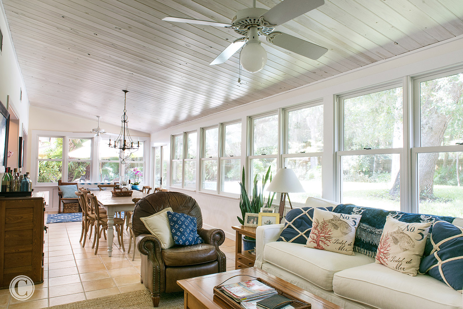 Converted back porch to gorgeous family and dining room, Atlantic Beach, Florida Home Renovation, ©Agnes Lopez Photography
