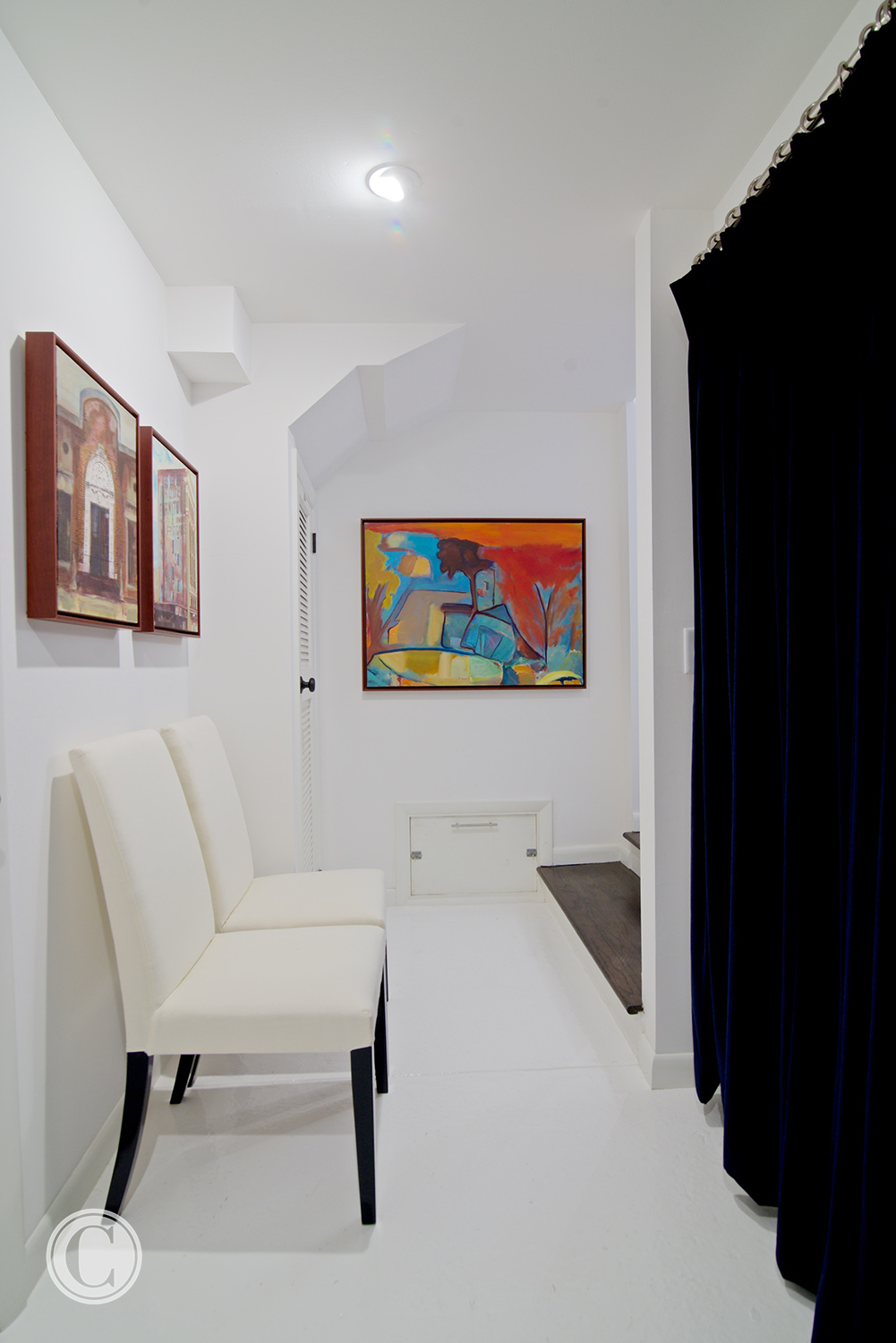 White Epoxy Enamel Floors, Thick, black velvet curtains,©Wally Sears Photography