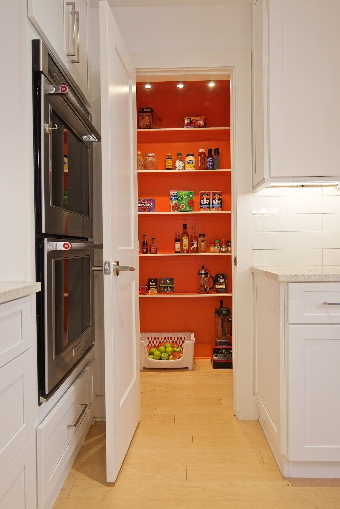 Fun Pop-of-Color in Pantry, Gut-Renovation Kitchen, Atlantic Beach, FL | Cornelius Construction Company