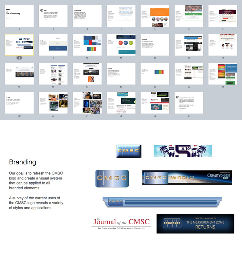 A visual inventory (top) is used for starting the design conversation by collecting examples and ideas within the topics of positioning, concept, color and tone. CMSC's visual inventory included a section on branding (bottom) that revealed a lack of consistency on their website and other marketing materials.