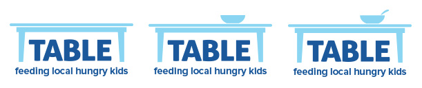 The table-only version of the logo was nice and clean, but the addition of the bowl (and eventually, spoon) added a human touch and cemented the logo as a visual reminder of how TABLE serves the community.