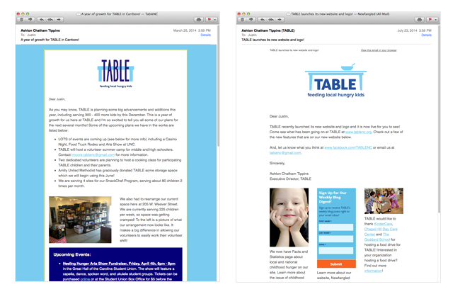 TABLE's original marketing emails (left) and the redesigned template