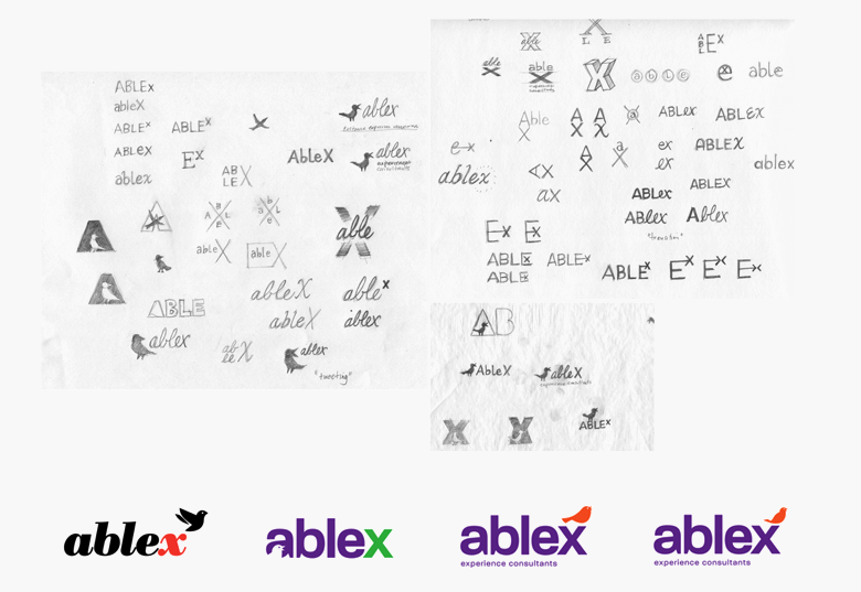 Pencil sketches and some early concepts of the logo. Sketching by hand is the best way to generate a lot of ideas quickly and eliminate unsuccessful ideas just as quickly.