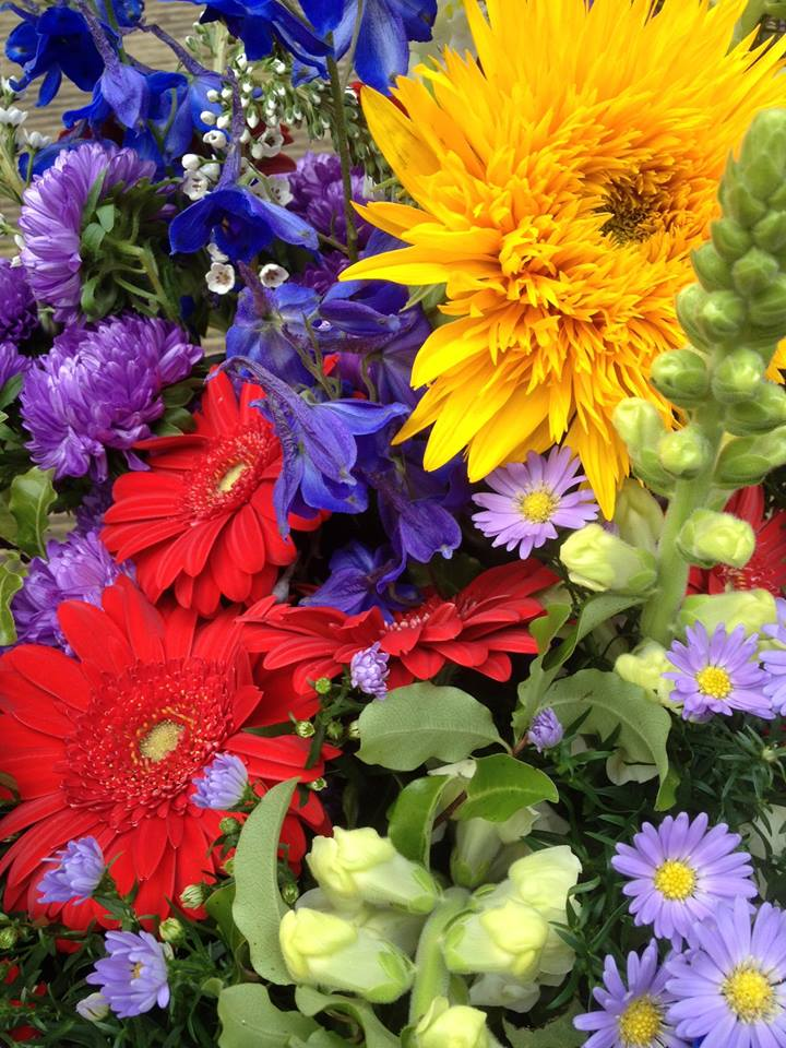 """Sunflower, Gerbera, Delphinium,   ' The Amen of nature is always a flower""""   Oliver Wendall Holmes"""