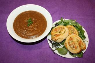 Deja Kelly   Savoury Scones with Tomato Lentil Soup    Sanitarium Plant Based Family Meals