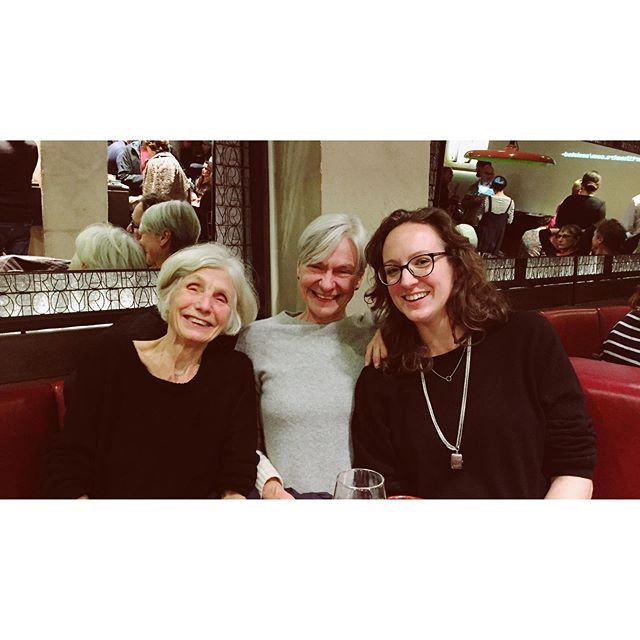A little break from #LFF to catch #CarylChurchill 's latest sold out show at @royalcourttheatre Wonderful plays of course, lots to think about as always. And a wonderful pre-theatre dinner. smiles all around. #legends #SiobhanDavies #royalcourt
