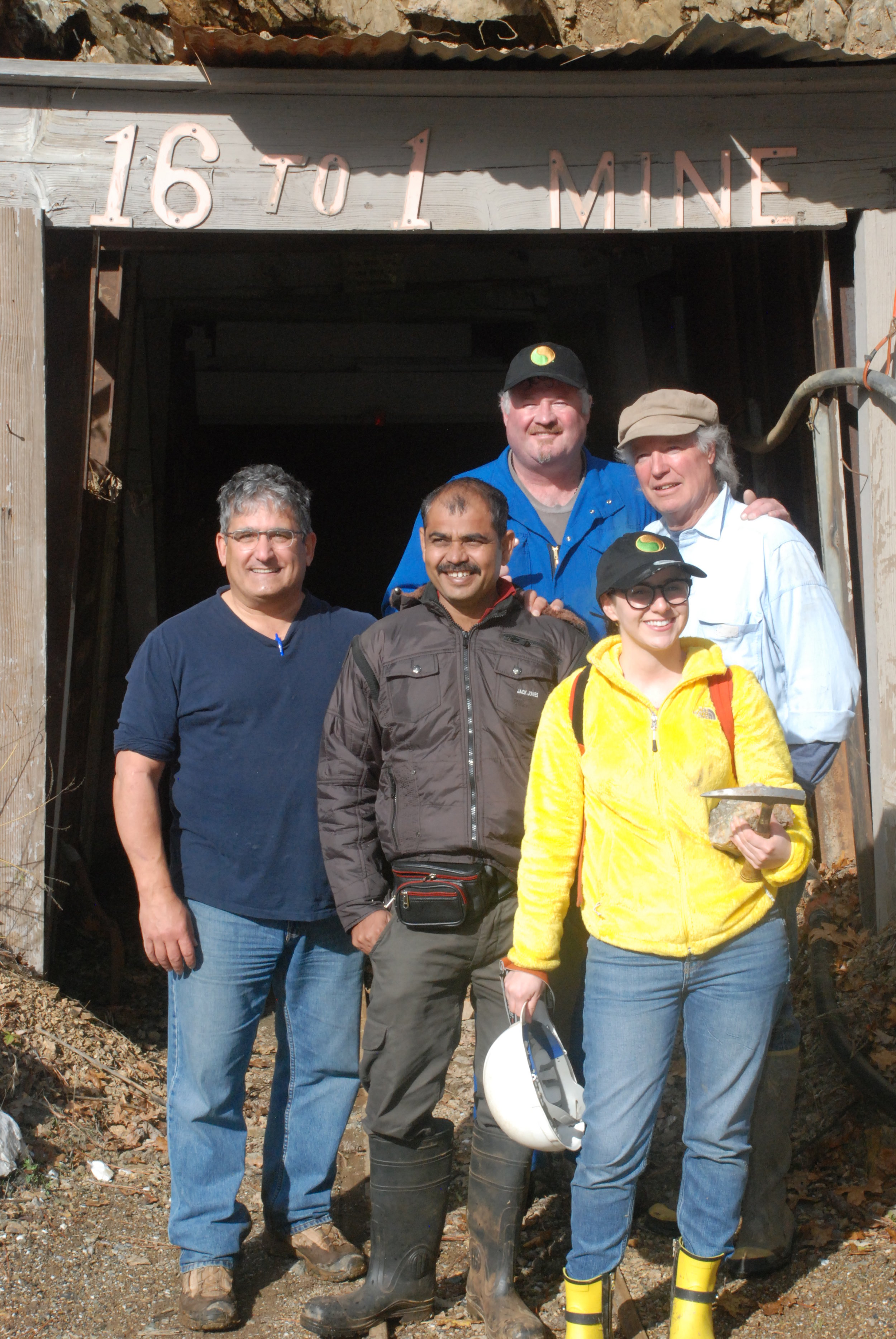 Mentor Rob takes Professor Wagh, Swami Ramanad Terth Marathwada University, India and UC Davis student, Ronit Zavodivker and I into the 16 to One Gold Mine, Allegany, California