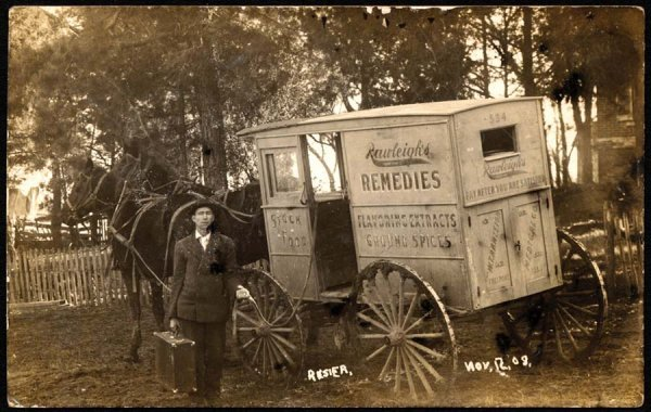A Rawliegh's salesman in front of his wagon, circa 1909.