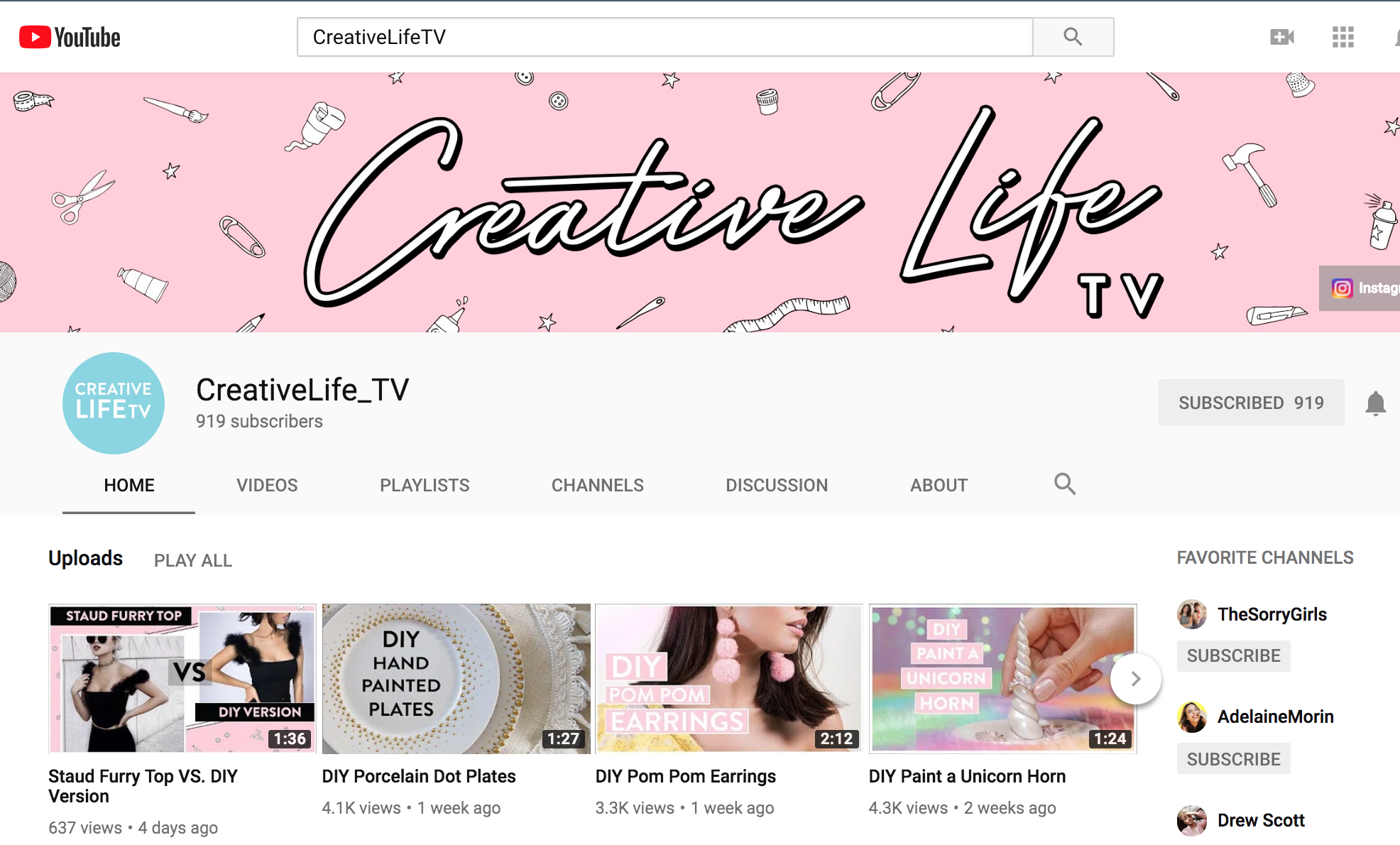 CreativeLifeTV - Channel Management   * YouTube Channel Setup / Strategy   * Weekly video uploads & optimization on YouTube   * Thumbnail design creation  * Sharing on Facebook / Instagram / Pinterest