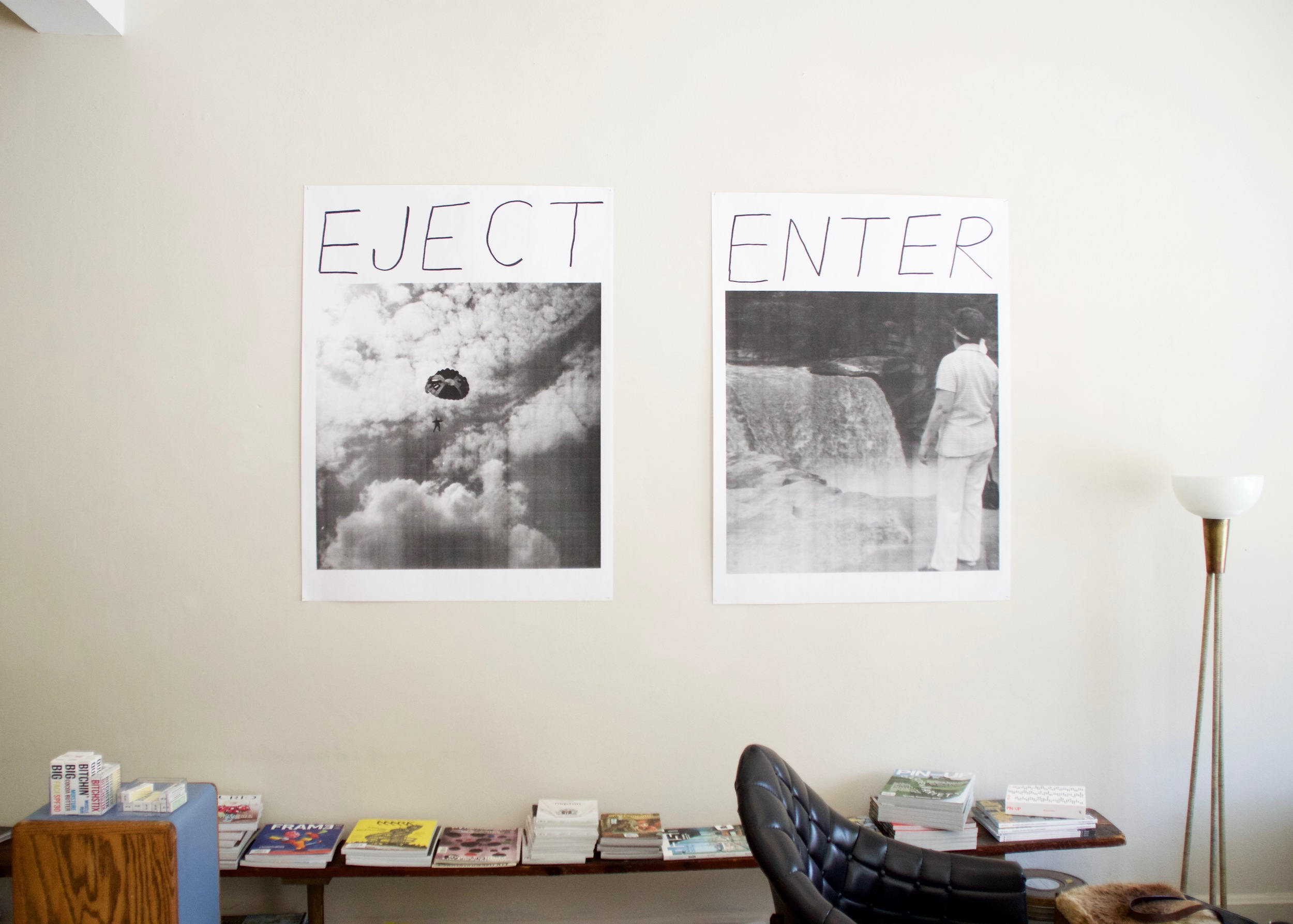 An Inspirational Poster Called Eject  (left) and  An Inspirational Poster Called Enter (right), 2016           inkjet prints | 48 x 36 in. (each)