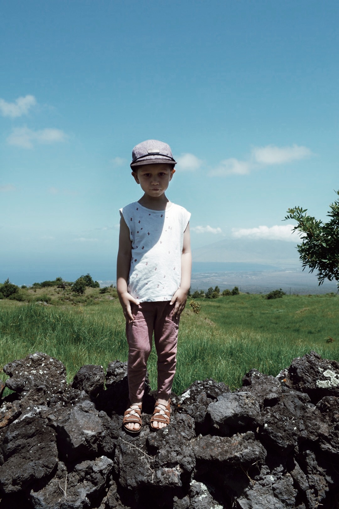 he was a little scared to stand on the lava rock