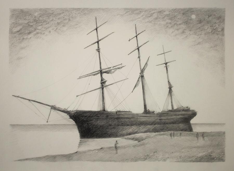 Strand , 2019. graphite on paper, 22 x 30 in.