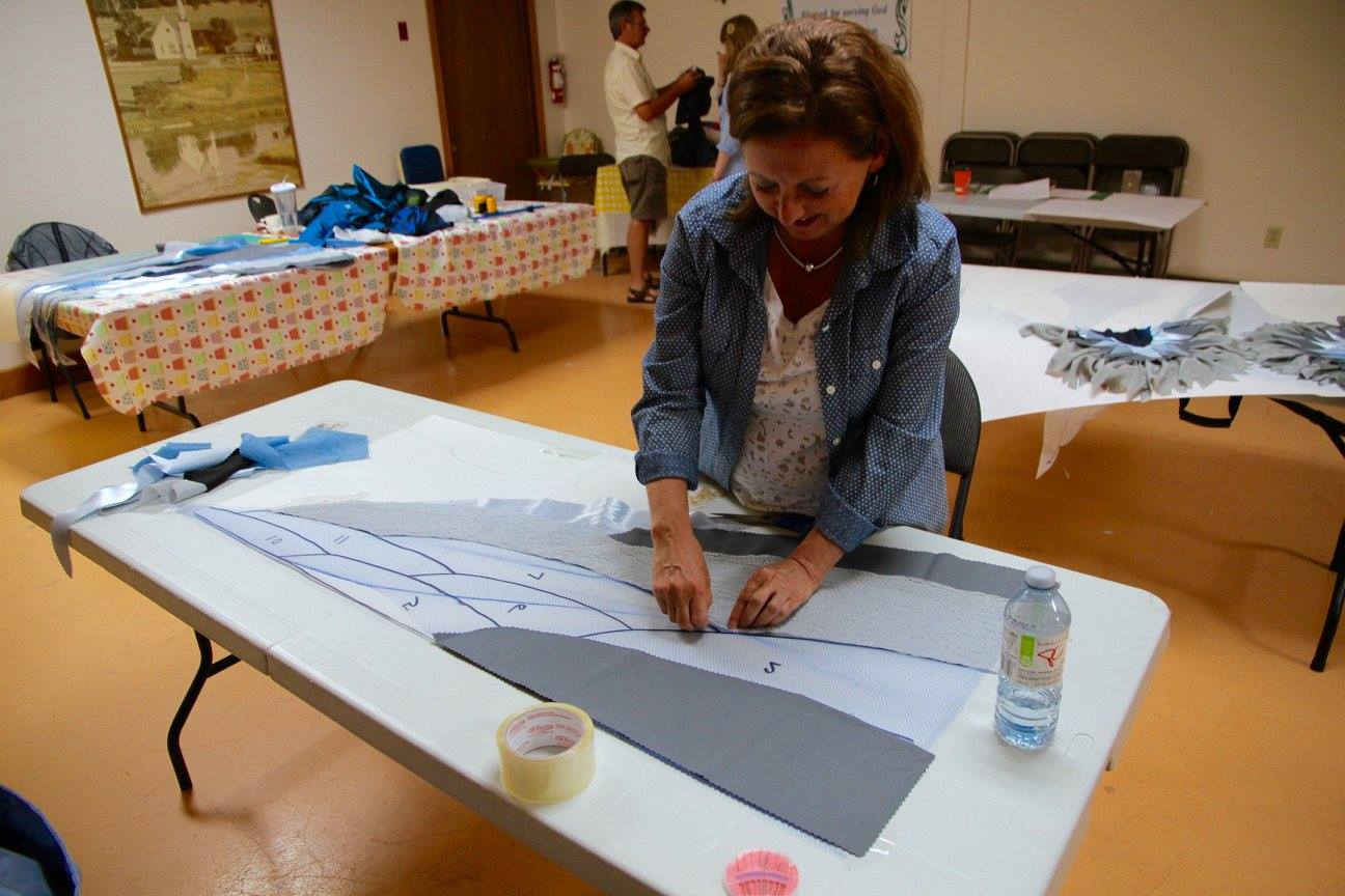 Rosemary works on a heron wing at our first Sewing Bee!
