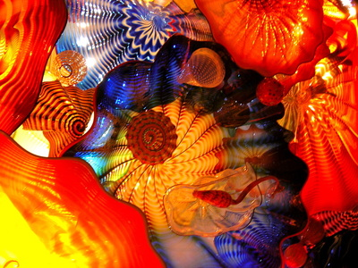 Relief from a glass sculpture by Chihuly
