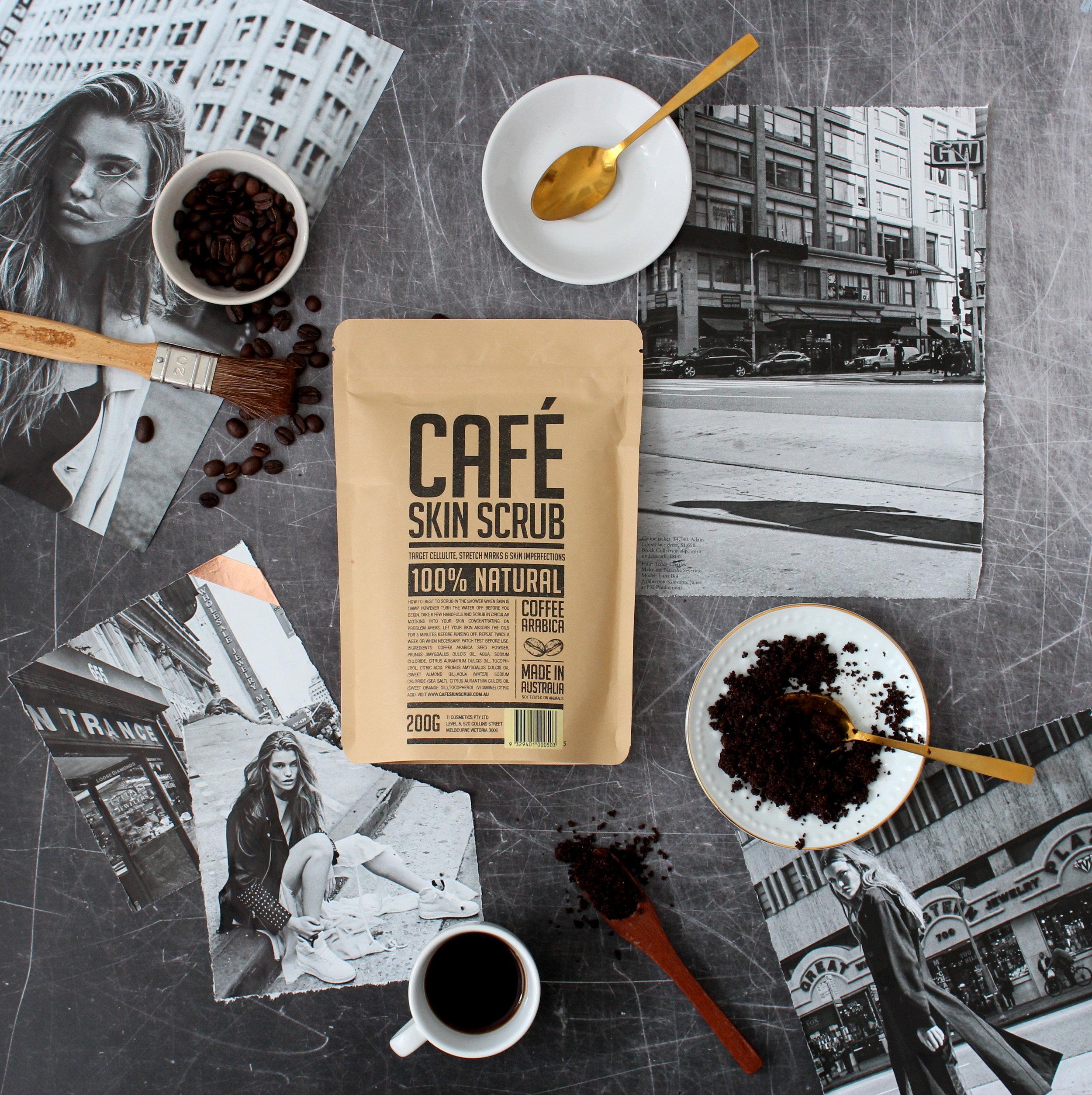coffee body scrub creative flatlay