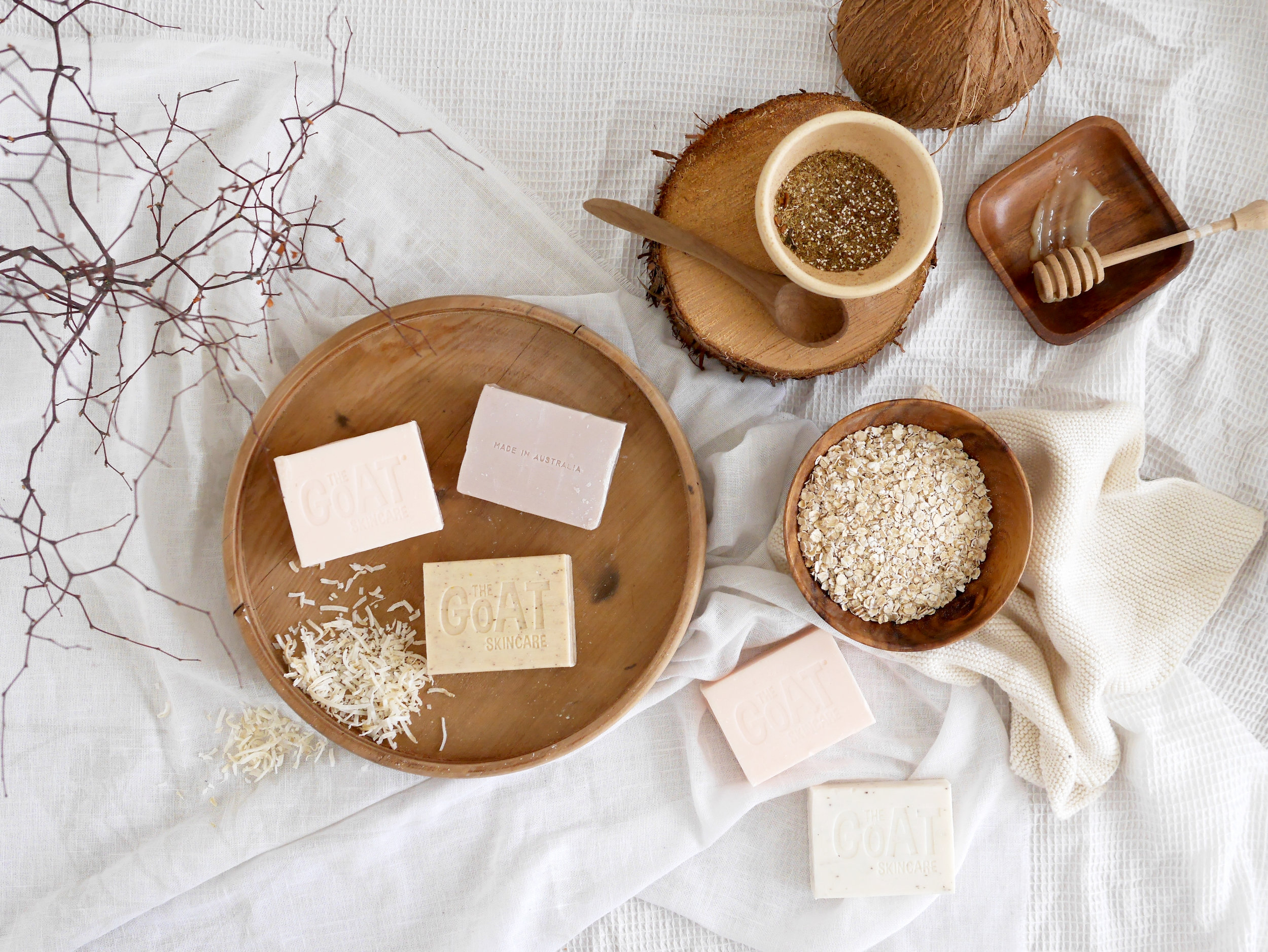soap beauty bar creatively styled flatlay