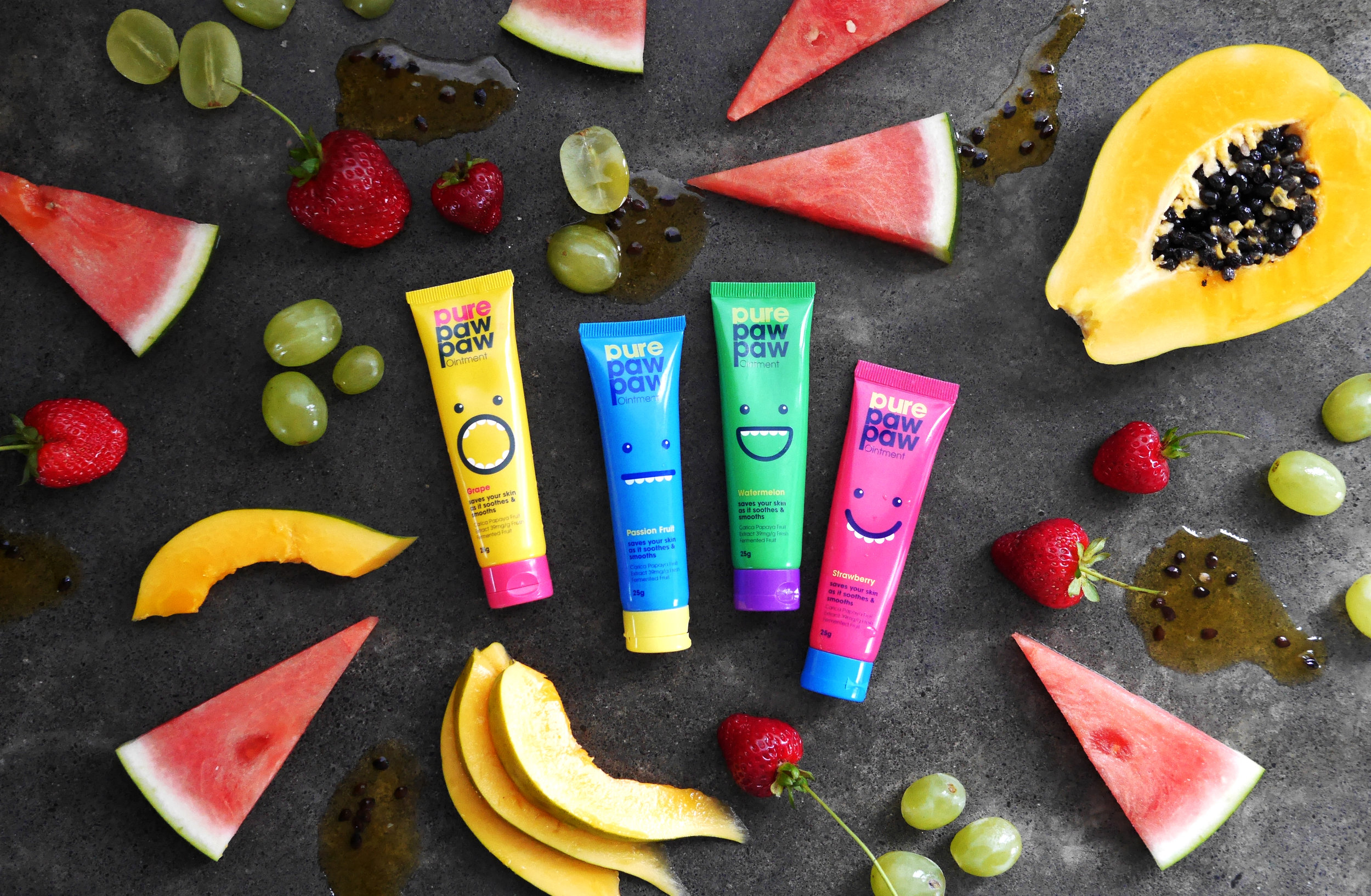 Paw paw product photography fun fruity flatlay