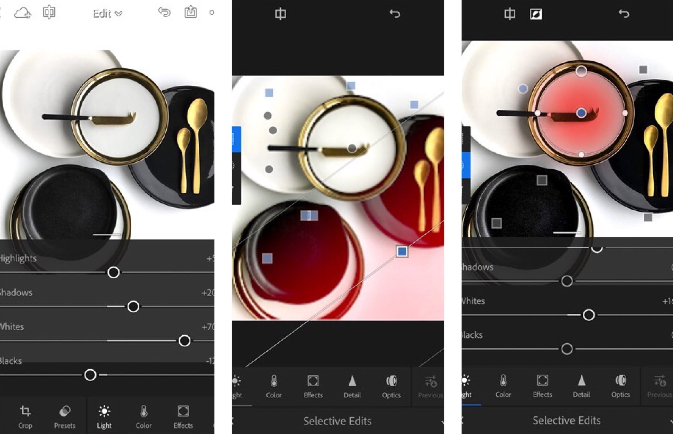Pictured: Using the gradient and radial selective editing tools in Lightroom for iPhone
