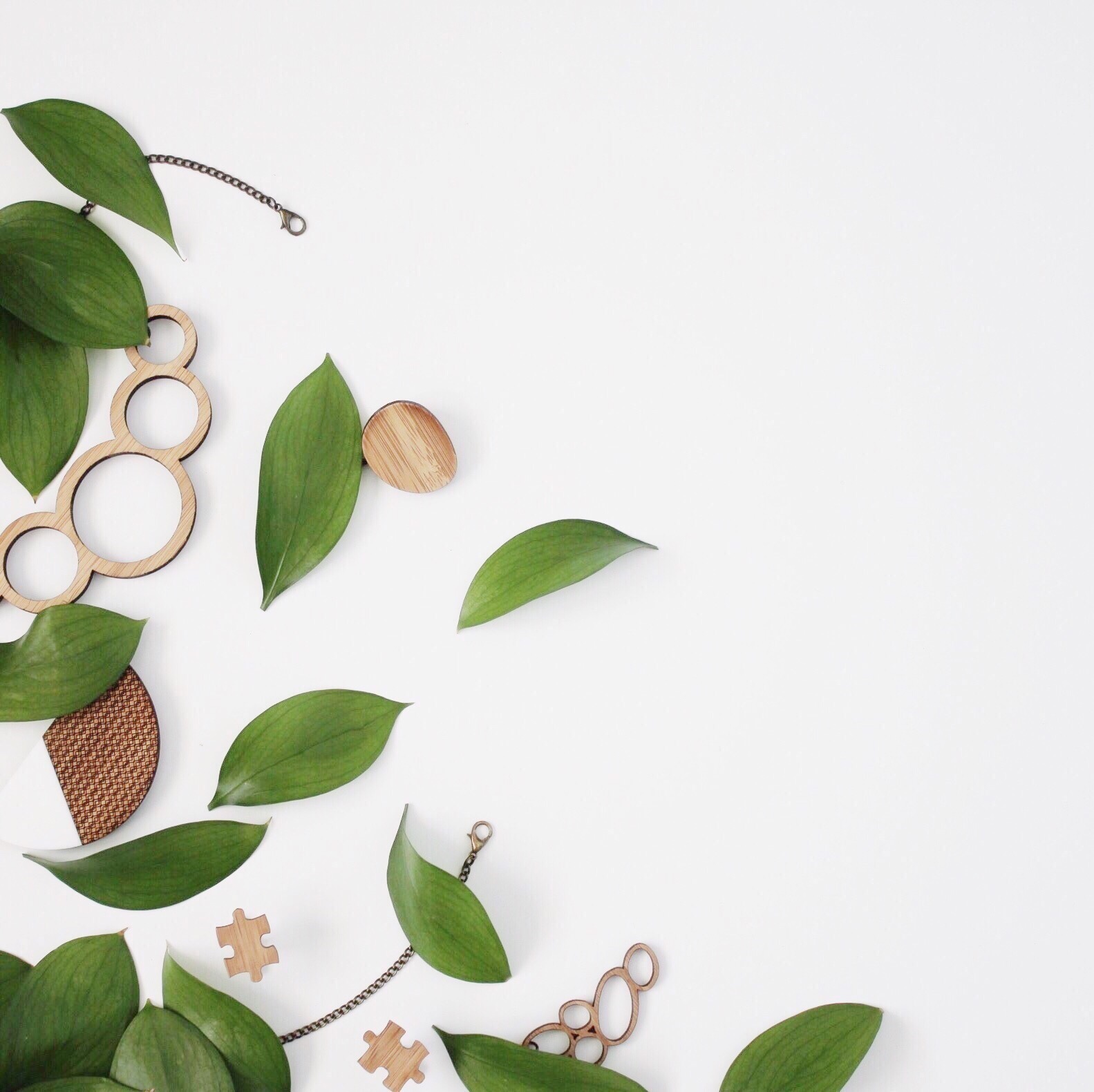 Flatlay using Israeli Ruscus Leaves with timber jewellery from @OneHappyLeaf.