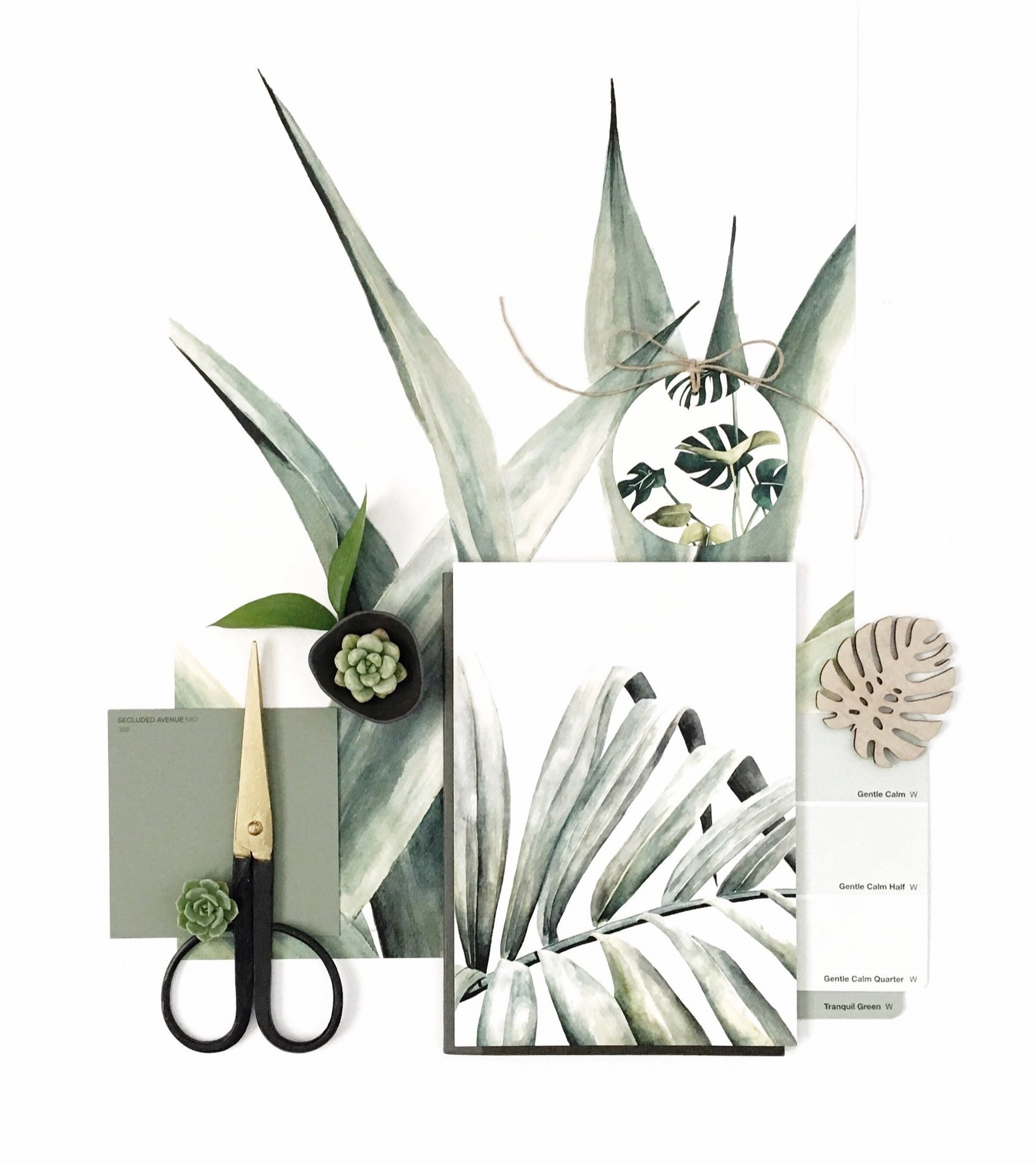 Flatlay using prints from @TheLovelyOther as well as paint swatches, succulents and timber monstera leaf from @_zilvi.