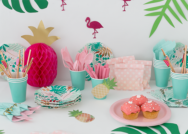 Tropical party supplies from Party Kit. Styled and photographed by Creatively Squared
