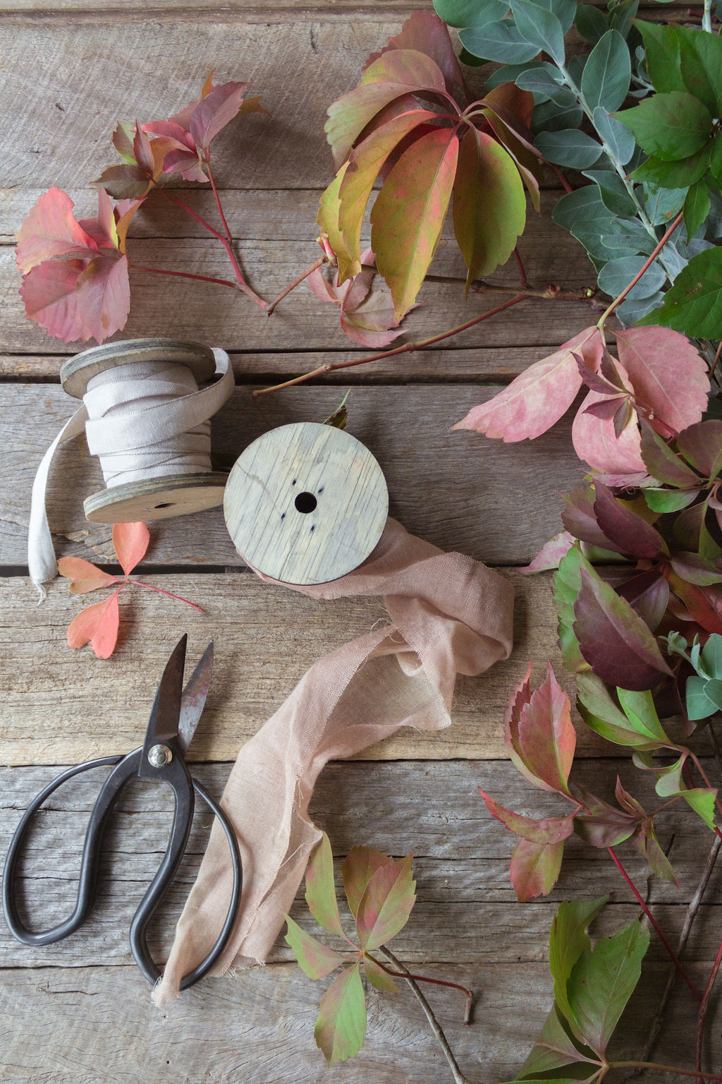 The tools of the trade including some foraged foliage to complement your handmade flowers. Source: Lisel Vonhoff from  @bellebouquets