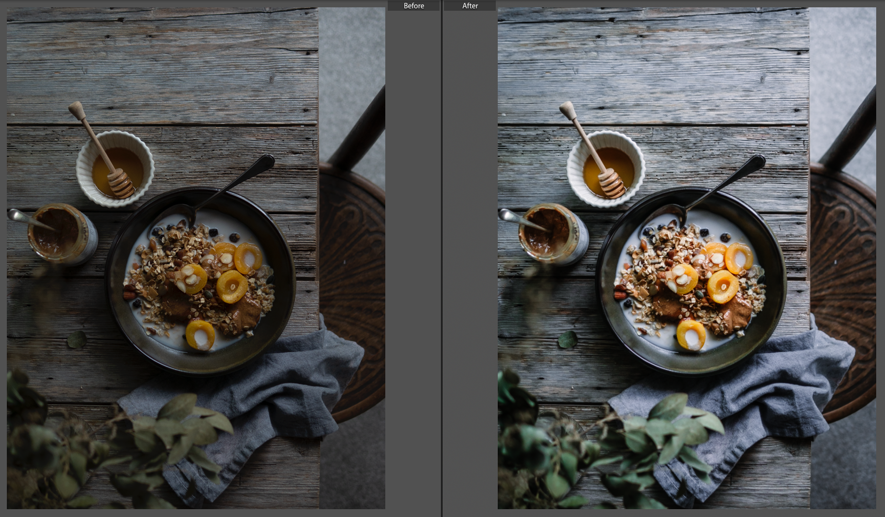 The before and after image as shot by Christall