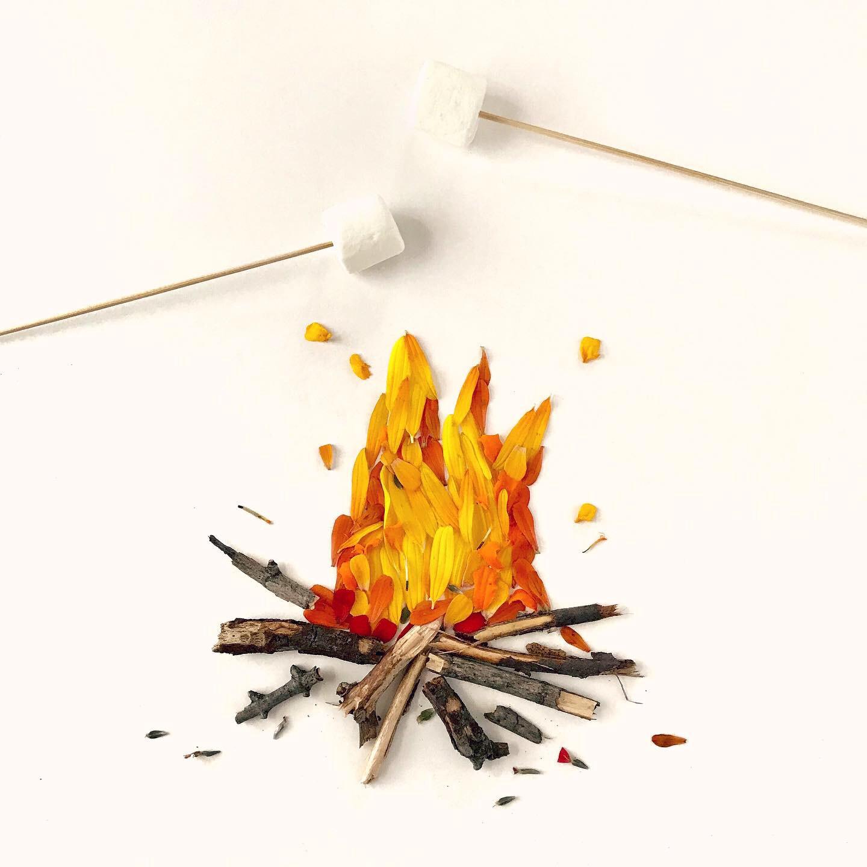 Campfire flatlay creative activity for kids