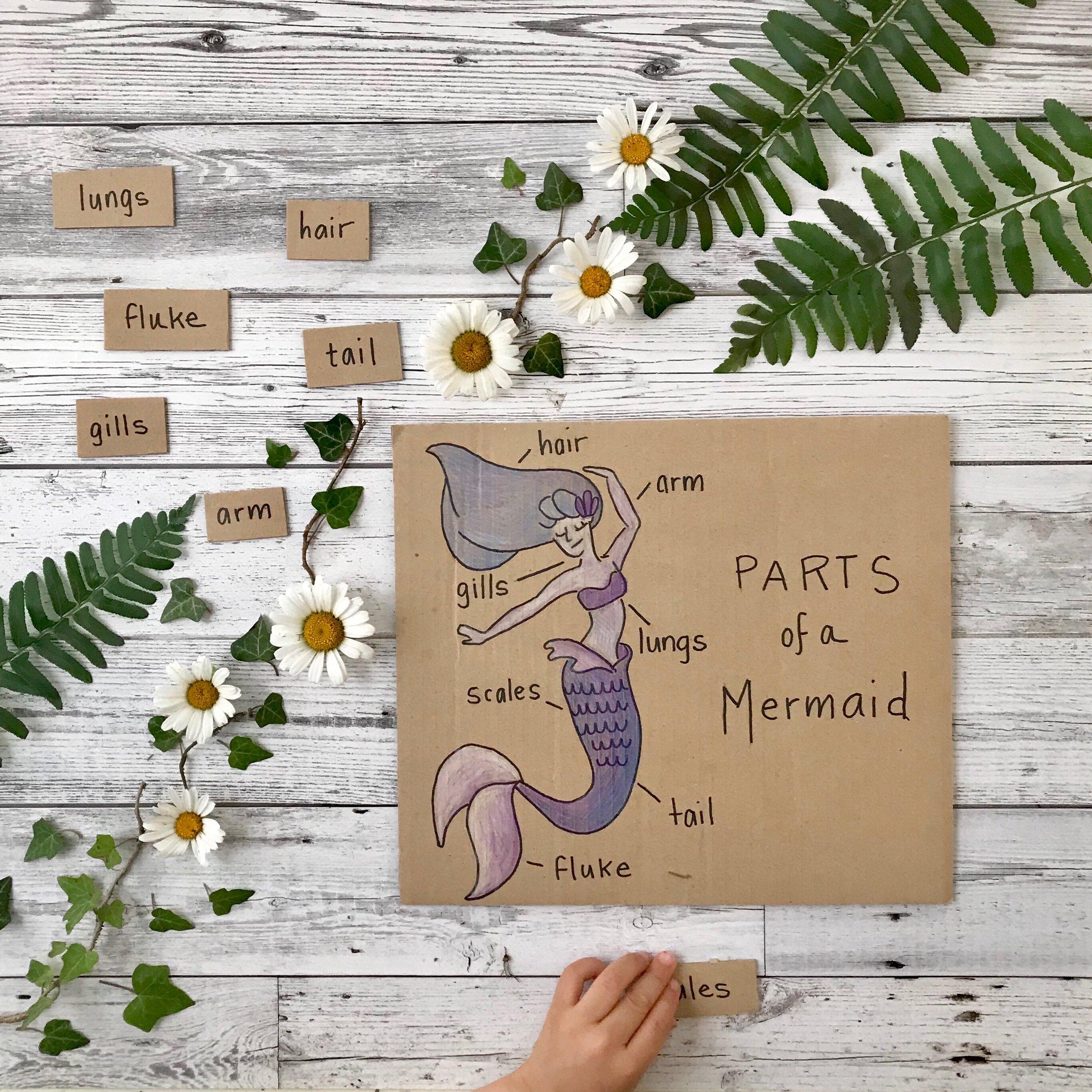 DIY mermaid match game for kids