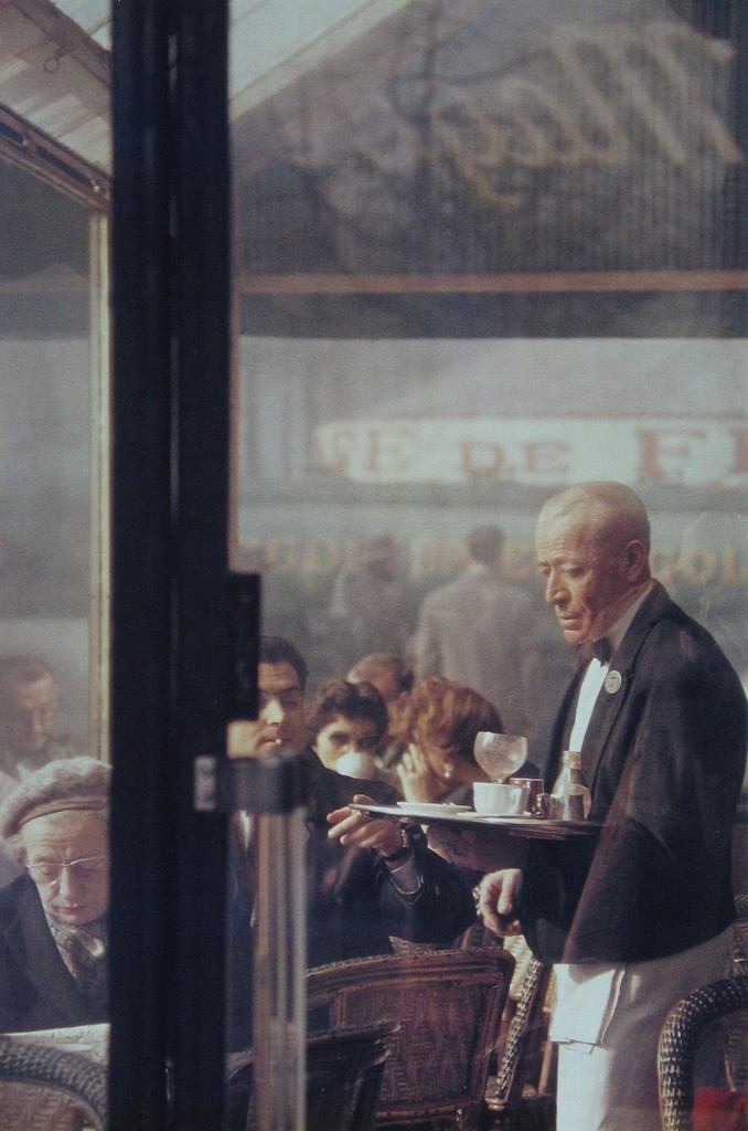 Saul Leiter. First sample in color street photo. Waiter, Paris, 1959