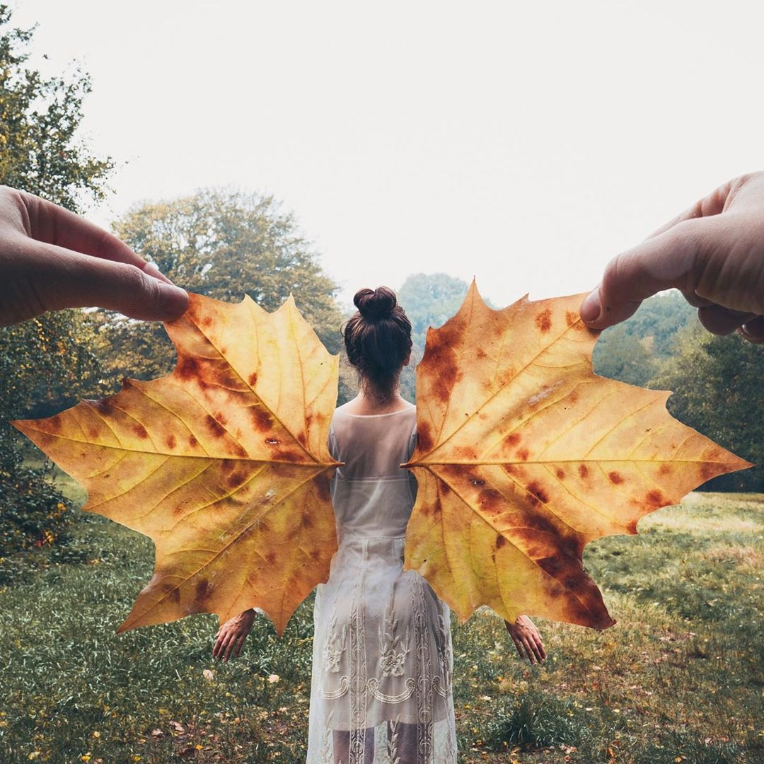 Make the most of fall and use autumn leaves as wings. Source:  @kutovakika