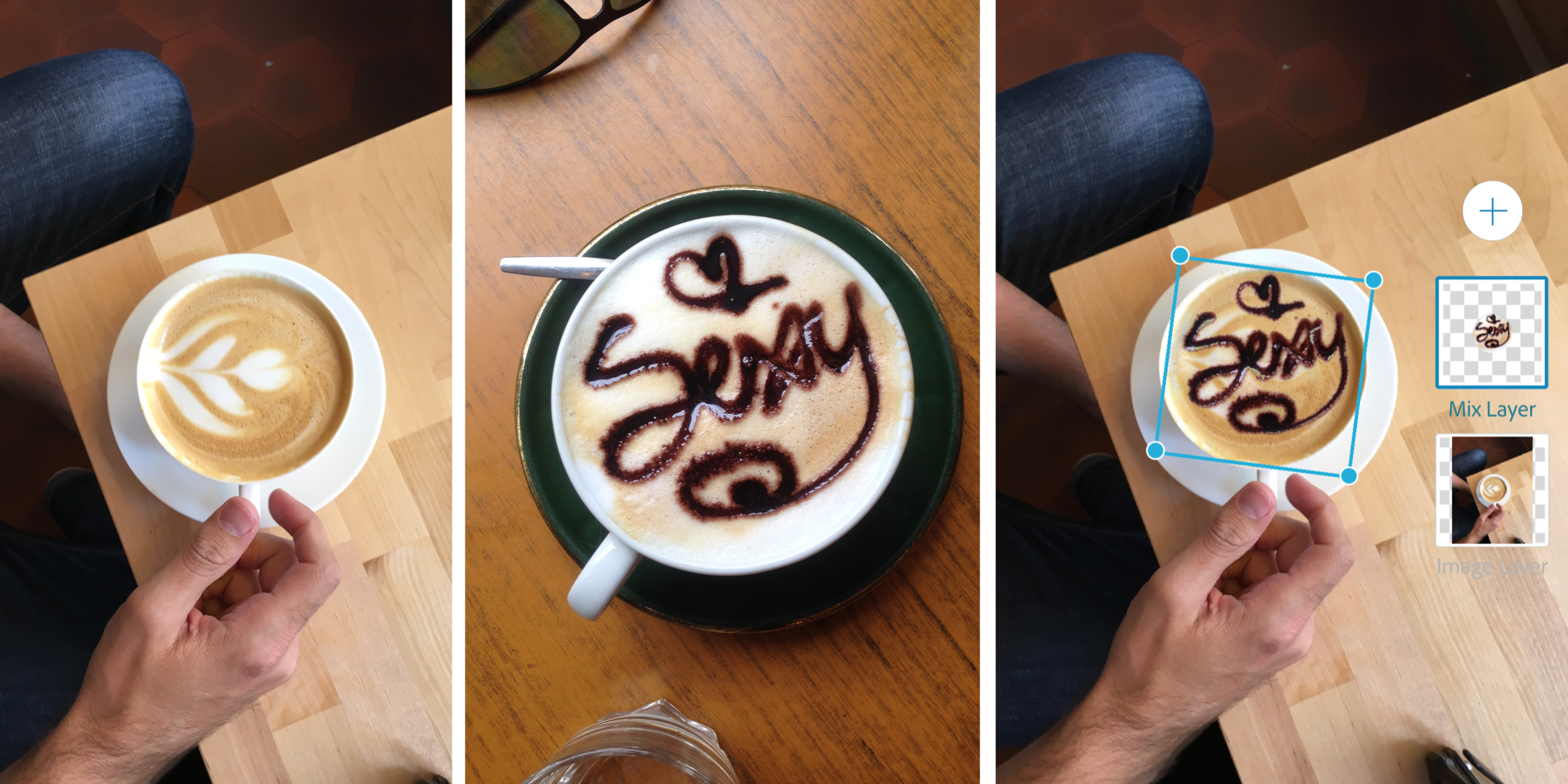 Adding latte art via Photoshop Mix