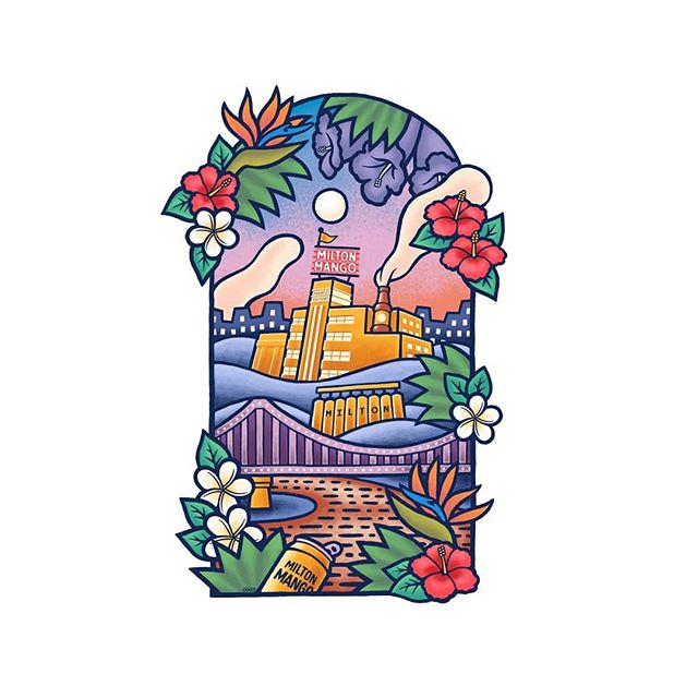 """Probably the biggest project I've undertaken at work. I was tasked with capturing the likeness of Mambo loud shirts by Reg Mombasa but making it tropical and """"euphoric"""" for a Qld climate. The design depicts Brisbane with the Milton brewery as the heart of the city with its architecture permeating every corners and all facets of life."""