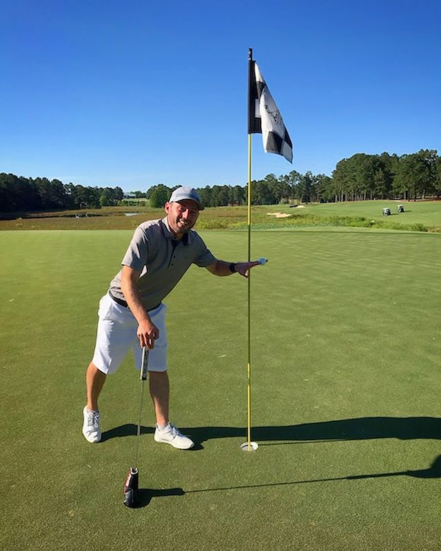 We've got a new addition to the Ace Club. Welcome @markdinets who stepped up to the 165 yard par 3 13th Pinehurst!!, grabbed his 7 iron and didn't even have to take the cover off his putter. Congrats!!! #tinyputtersgolf #clubupandgetdown #holeinone