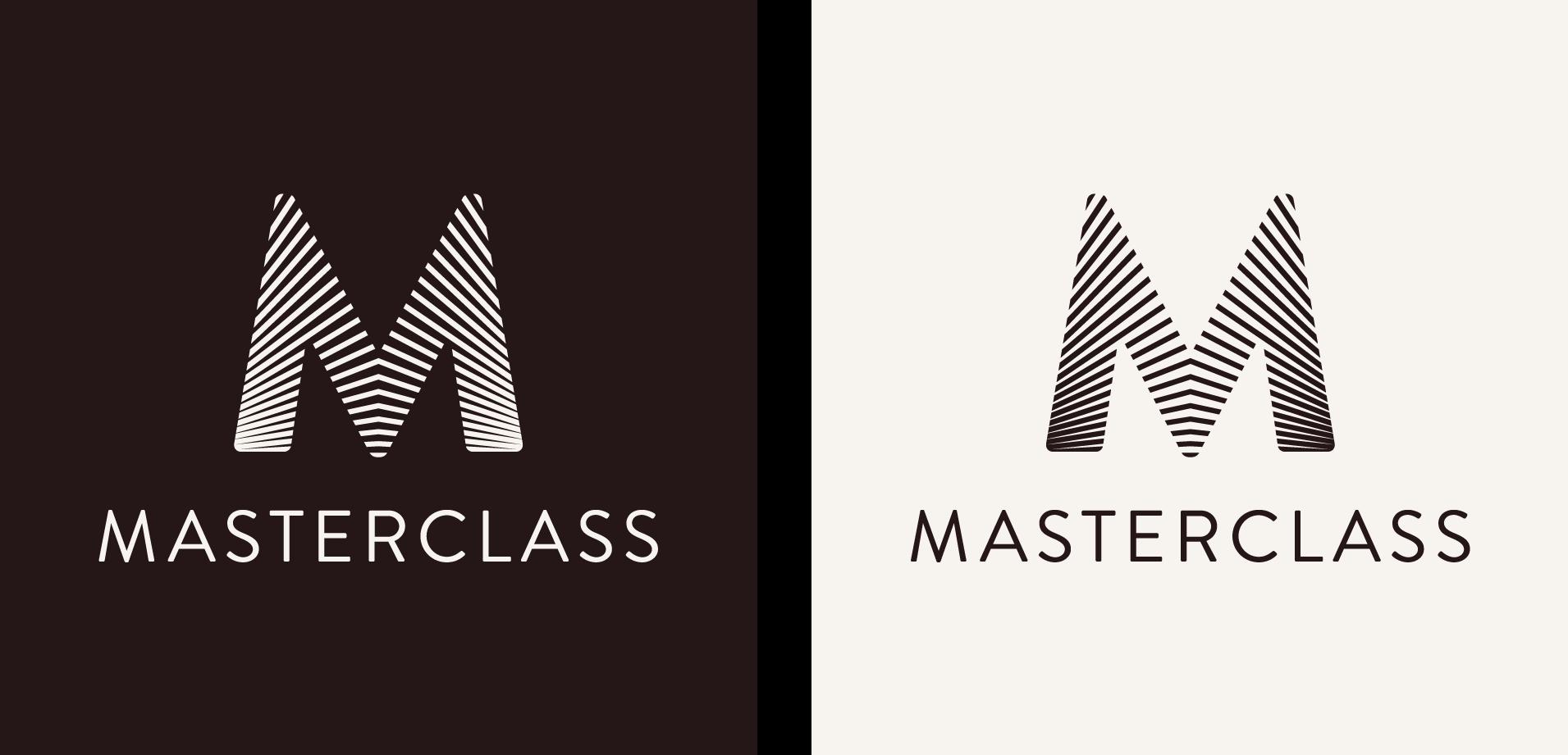 The MasterClass logotype on light & dark backgrounds
