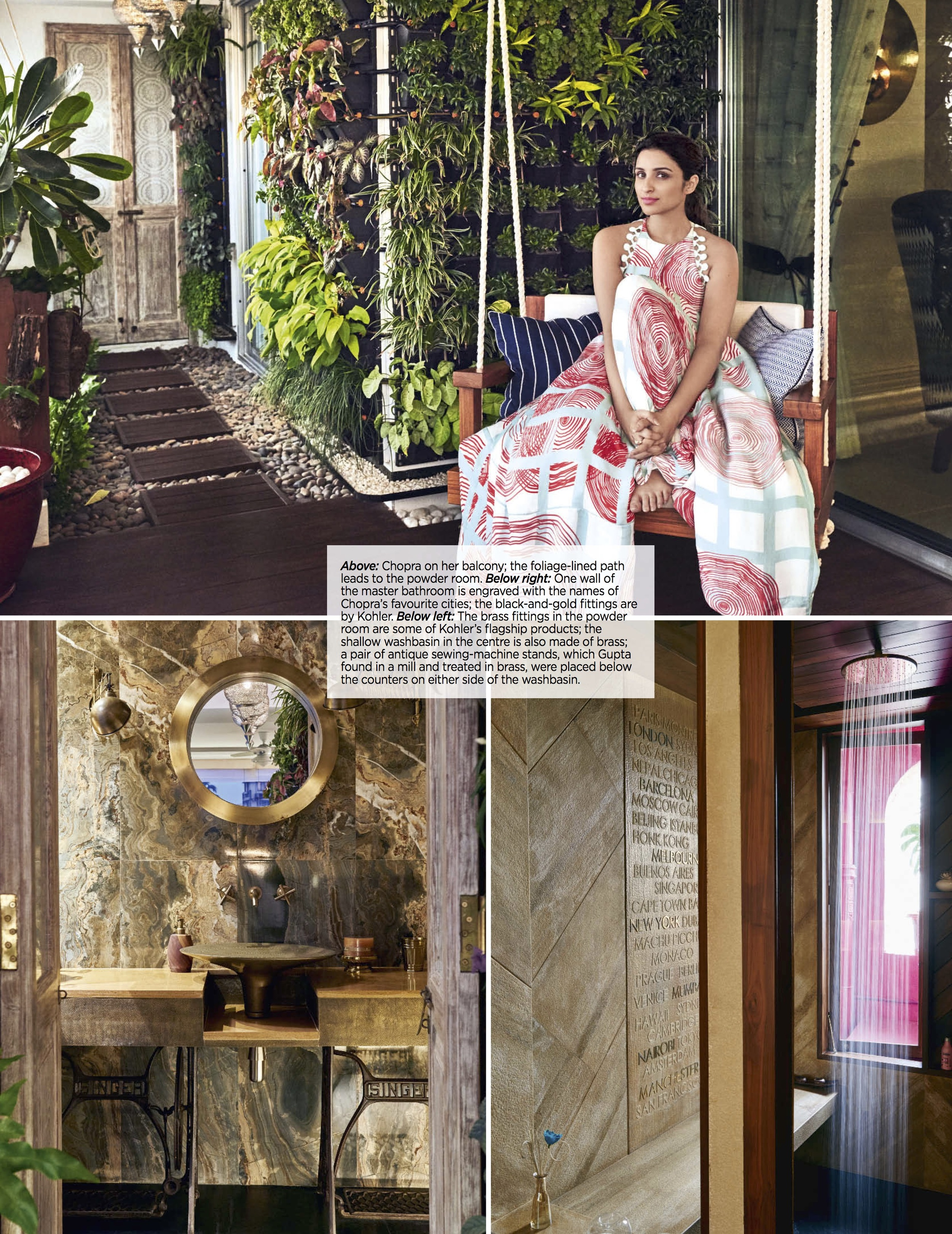 Parineeti Chopra Outdoor Space and Master Bathroom