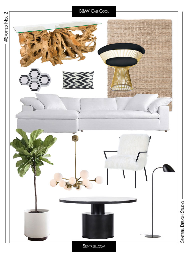 Freeform Wood Console *,  Jute Rug ,Gold Frame  Knoll Platner Armchair ( Replica ), Hexagon Marble Mosaic Tile , Chevron Lumbar Pillow , White Fabric Sectional , Fiddle Leaf Fig , Antique Brass Chandelier ,  Sheepskin Black Frame Chair , Metal Dining Table *, Modern Black Floor Lamp   *Trade Only