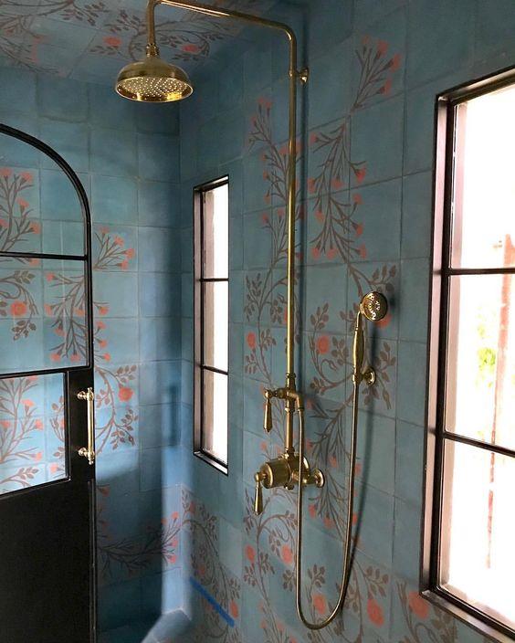 Amber-Interiors-Master-Bath-Shower-Floral-Tile