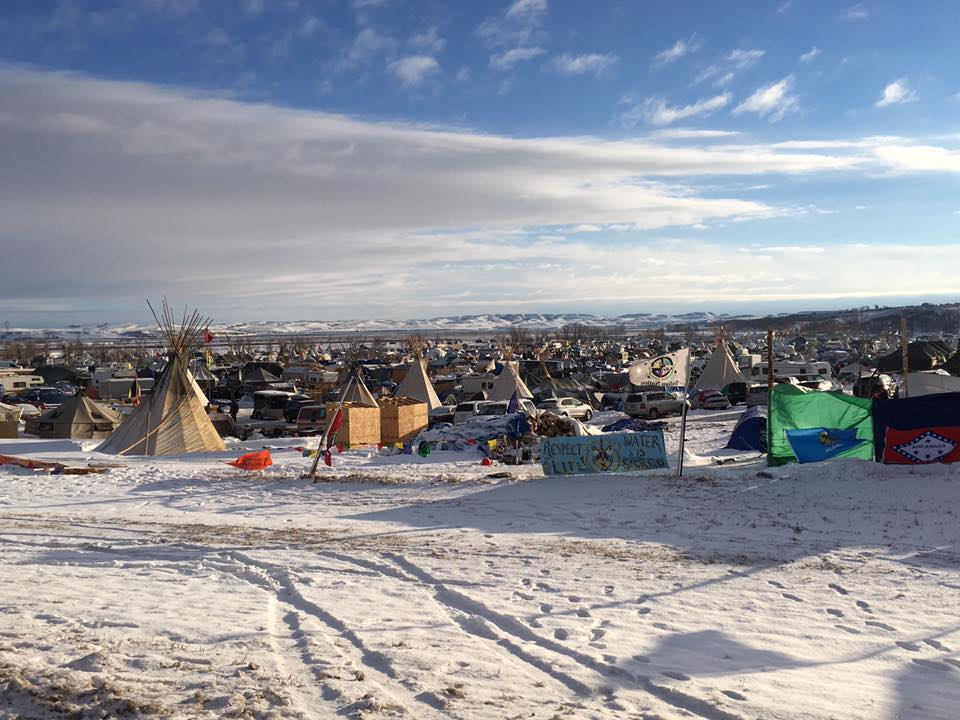 This is a picture of the camp at Standing Rock, taken by Heaton in December 2016.