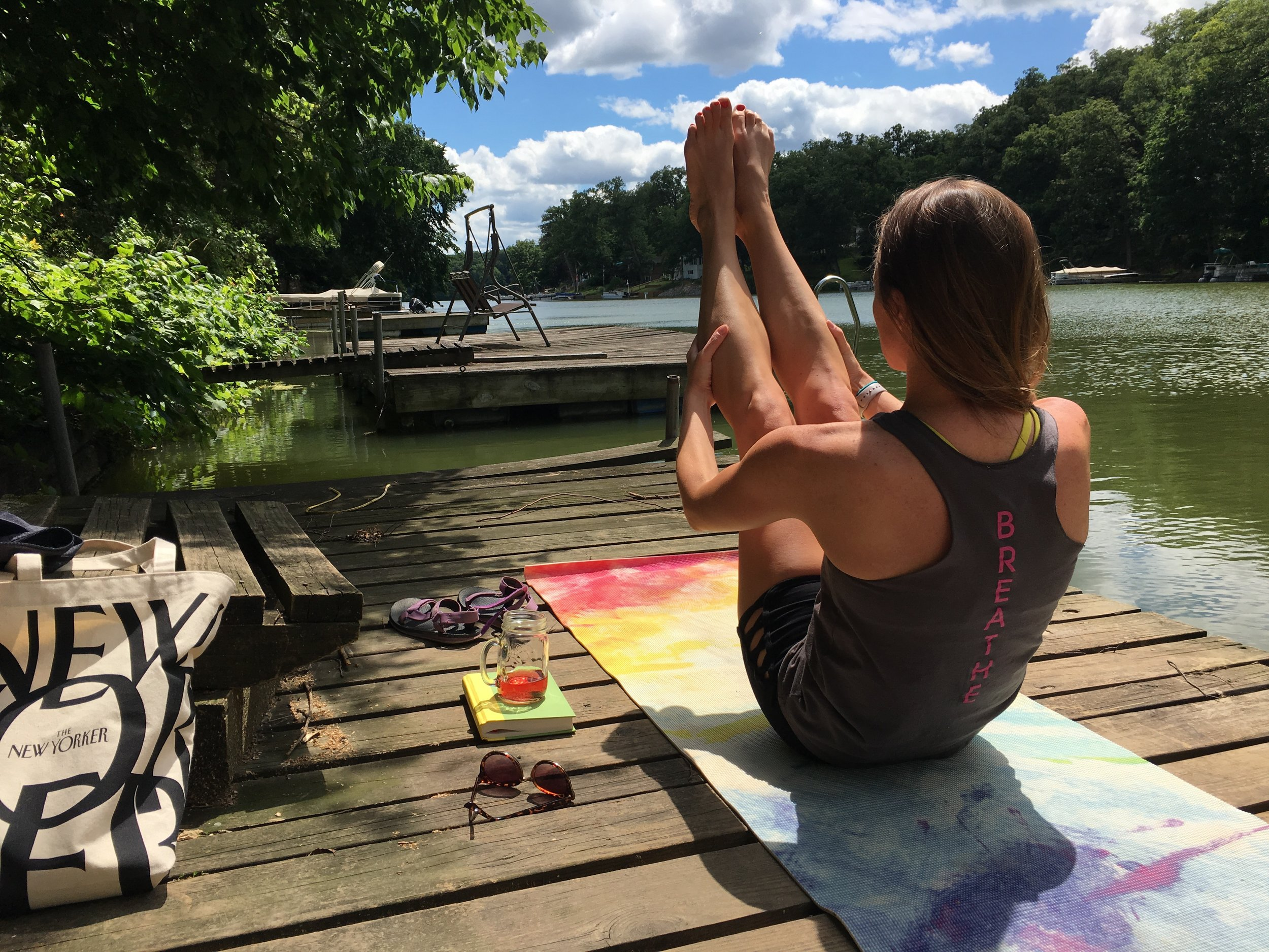 yoga boat dock boat pose