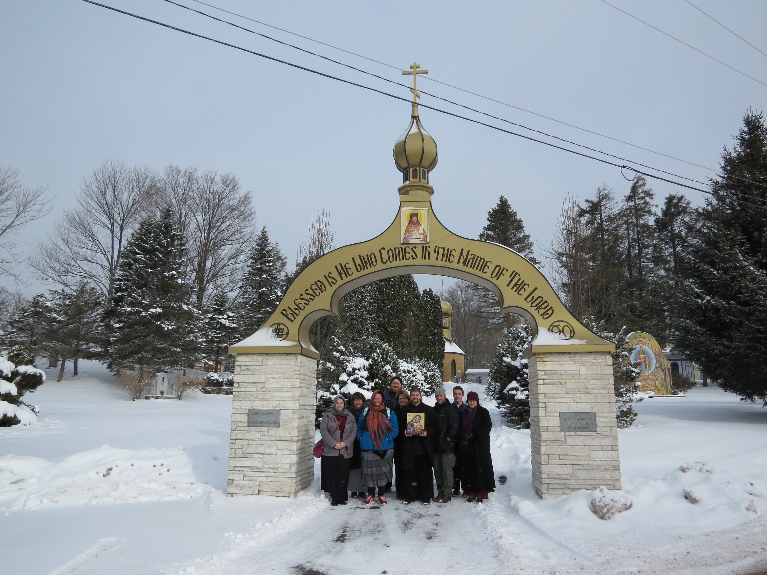 Our Pilgrims Standing in Front of the Entrance to the Monastery.