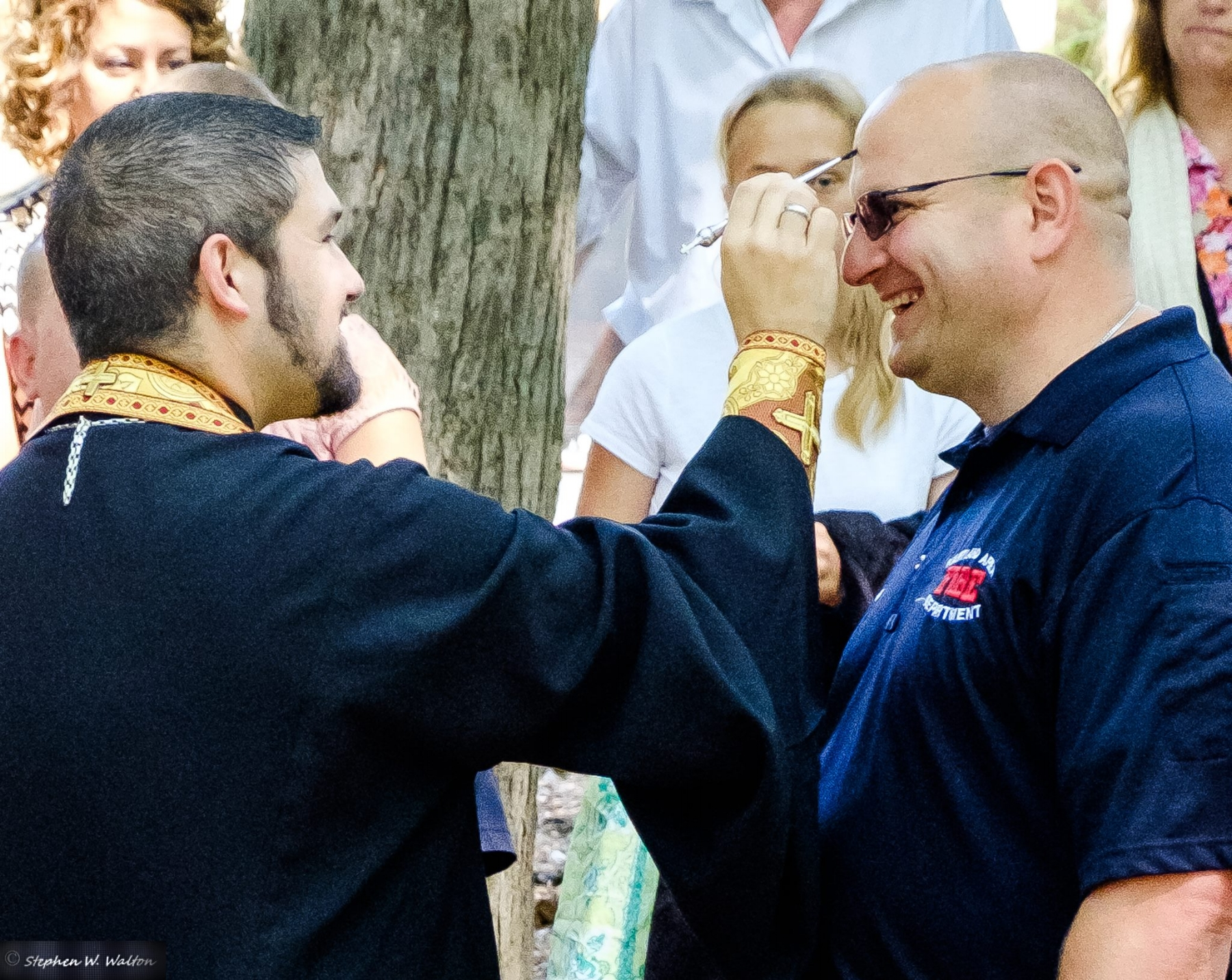 One of the parish families newest members, Brion Cooley, who serves as an EMT and a firefighter, helped to coordinate the first responders, and get the word out about the special blessing!