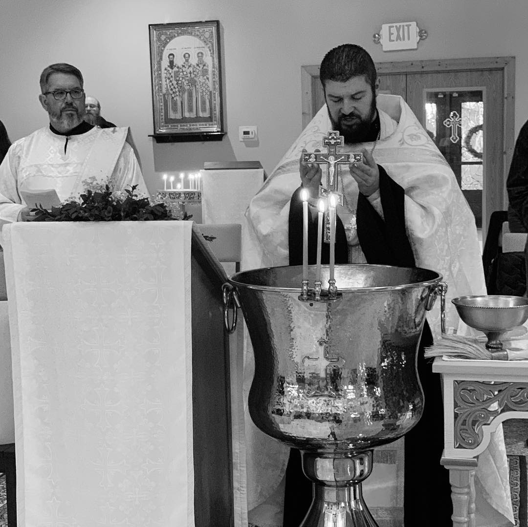 Fr. Gabriel and Dcn. Michael blessing the waters on Theophany Eve