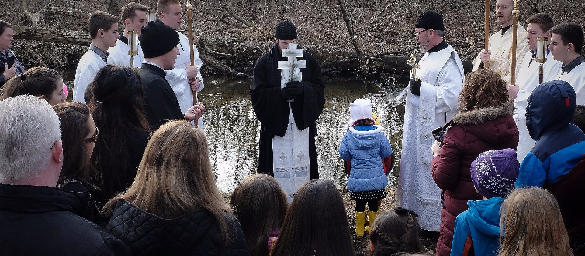 Fr. Gabriel and the Faithful of St. Mary Magdalene, blessing the River