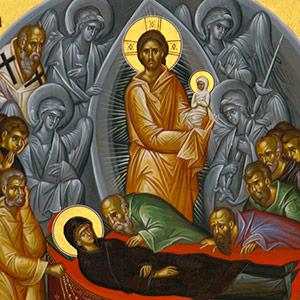 closeup of an Orthodox icon of the Holy Dormition of the Theotokos